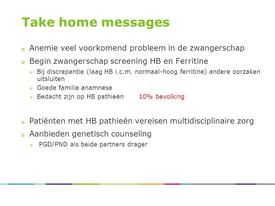 Take home messages Anemie veel voorkomend probleem in de zwangerschap Begin zwangerschap screening HB en Ferritine Bij discrepantie (laag HB i.c.m. no