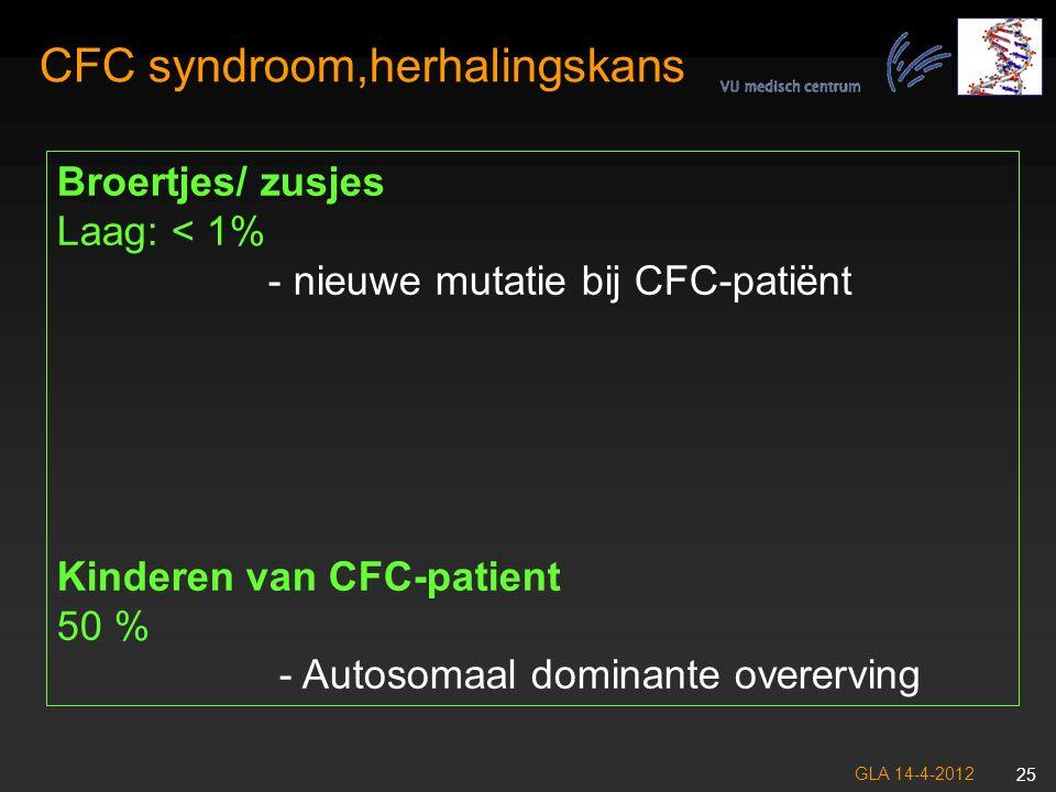 GLA 14-4-2012 26 CFC syndroom, Follow-up GehoorJaarlijkse evaluatie HartUitgangs onderzoek, daarna periodieke controles OK: Antibiotica profylaxe?, ritmestoornissen.