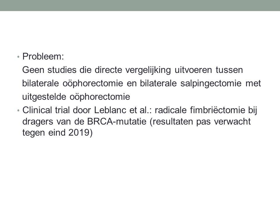 Probleem: Geen studies die directe vergelijking uitvoeren tussen bilaterale oöphorectomie en bilaterale salpingectomie met uitgestelde oöphorectomie Clinical trial door Leblanc et al.: radicale fimbriëctomie bij dragers van de BRCA-mutatie (resultaten pas verwacht tegen eind 2019)