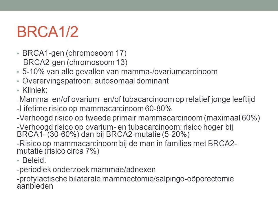 BRCA1/2 BRCA1-gen (chromosoom 17) BRCA2-gen (chromosoom 13) 5-10% van alle gevallen van mamma-/ovariumcarcinoom Overervingspatroon: autosomaal dominant Kliniek: -Mamma- en/of ovarium- en/of tubacarcinoom op relatief jonge leeftijd -Lifetime risico op mammacarcinoom 60-80% -Verhoogd risico op tweede primair mammacarcinoom (maximaal 60%) -Verhoogd risico op ovarium- en tubacarcinoom: risico hoger bij BRCA1- (30-60%) dan bij BRCA2-mutatie (5-20%) -Risico op mammacarcinoom bij de man in families met BRCA2- mutatie (risico circa 7%) Beleid: -periodiek onderzoek mammae/adnexen -profylactische bilaterale mammectomie/salpingo-oöporectomie aanbieden