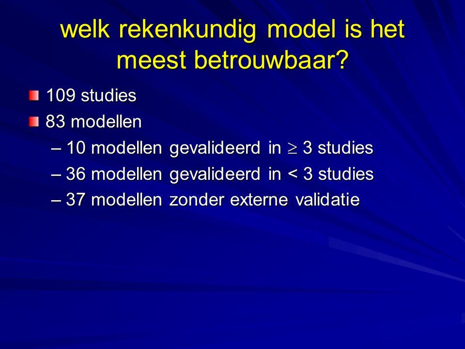 welk rekenkundig model is het meest betrouwbaar? 109 studies 83 modellen –10 modellen gevalideerd in  3 studies –36 modellen gevalideerd in < 3 studi