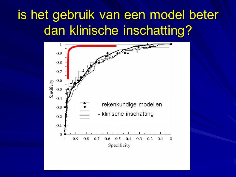 is het gebruik van een model beter dan klinische inschatting? klinische inschatting rekenkundige modellen - rekenkundige modellen - klinische inschatt