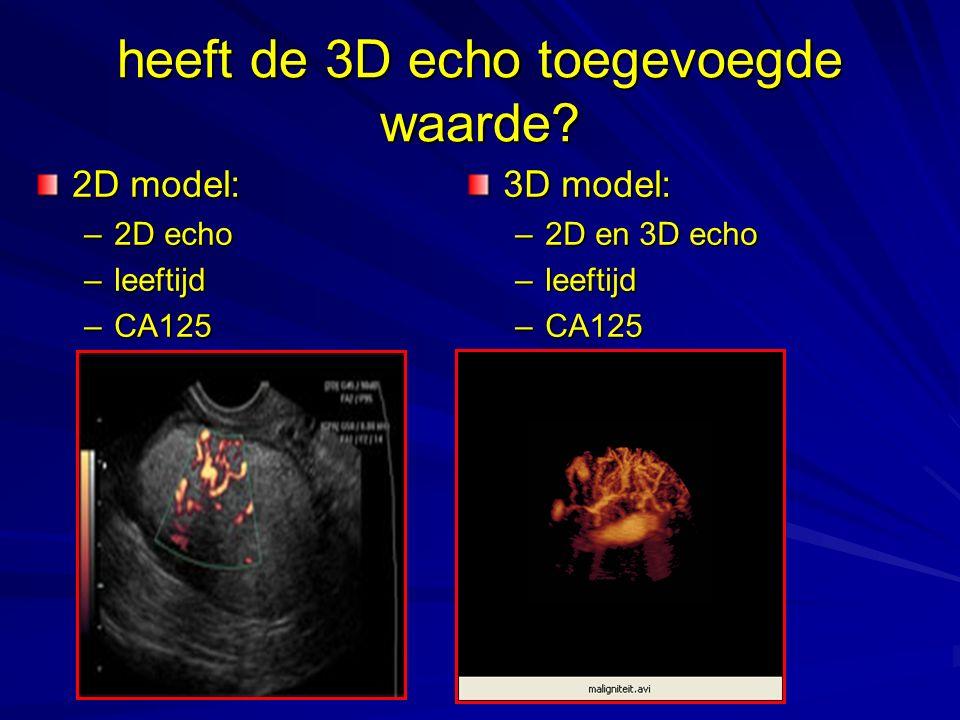 heeft de 3D echo toegevoegde waarde? 2D model: –2D echo –leeftijd –CA125 3D model: –2D en 3D echo –leeftijd –CA125