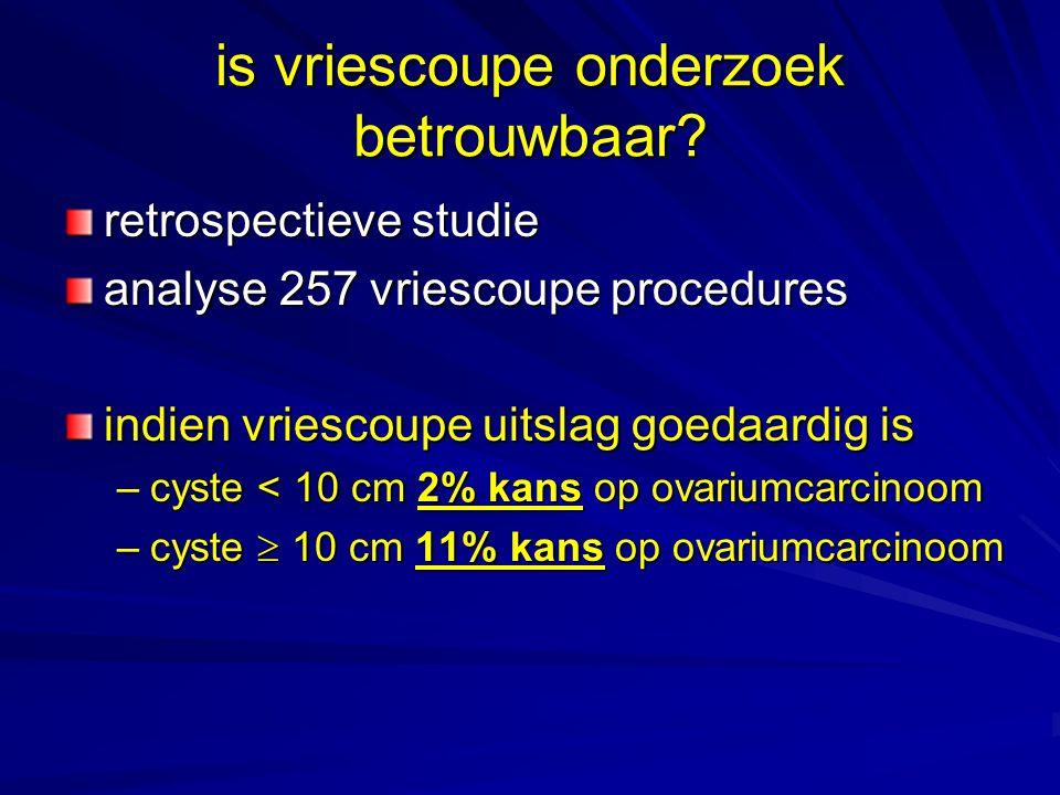 is vriescoupe onderzoek betrouwbaar? retrospectieve studie analyse 257 vriescoupe procedures indien vriescoupe uitslag goedaardig is –cyste < 10 cm 2%