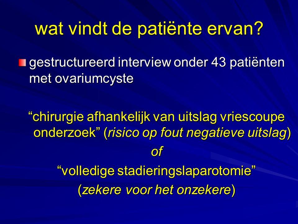"""wat vindt de patiënte ervan? gestructureerd interview onder 43 patiënten met ovariumcyste """"chirurgie afhankelijk van uitslag vriescoupe onderzoek"""" (ri"""