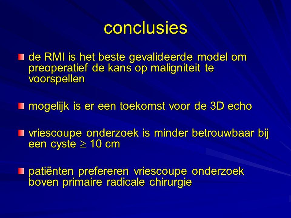 conclusies de RMI is het beste gevalideerde model om preoperatief de kans op maligniteit te voorspellen mogelijk is er een toekomst voor de 3D echo vr
