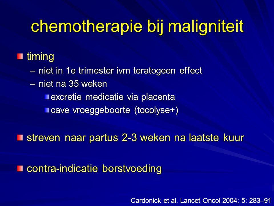chemotherapie bij maligniteit timing –niet in 1e trimester ivm teratogeen effect –niet na 35 weken excretie medicatie via placenta cave vroeggeboorte
