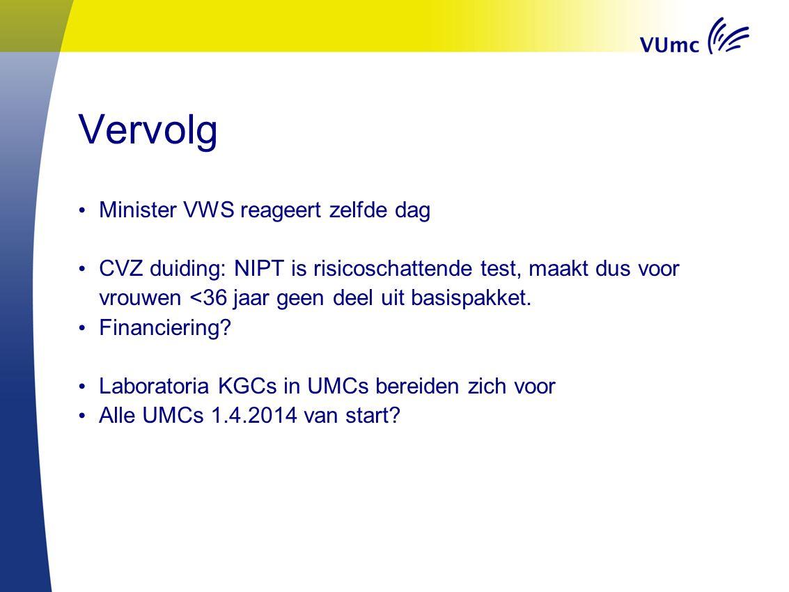 Vervolg Minister VWS reageert zelfde dag CVZ duiding: NIPT is risicoschattende test, maakt dus voor vrouwen <36 jaar geen deel uit basispakket. Financ