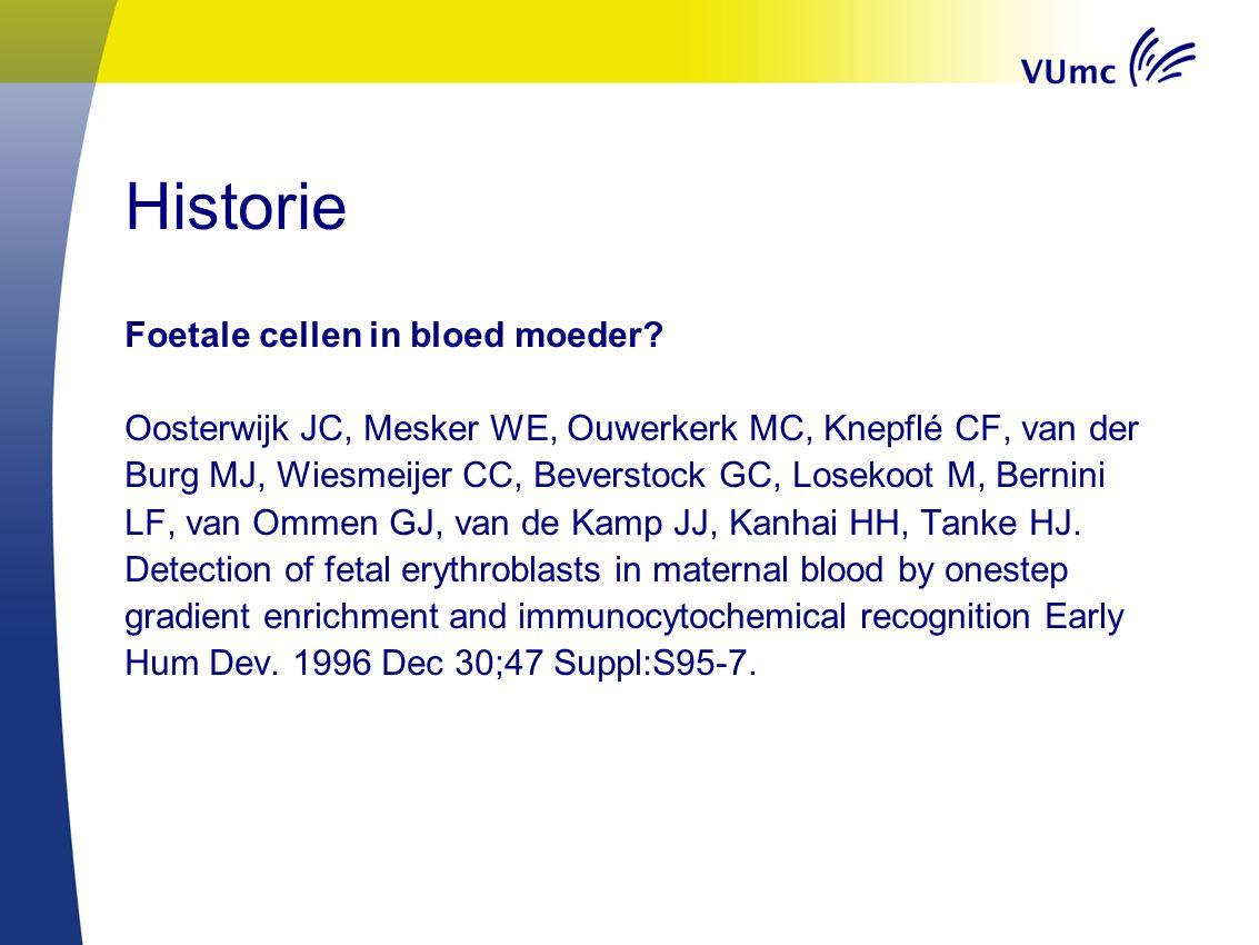 Historie Foetale cellen in bloed moeder? Oosterwijk JC, Mesker WE, Ouwerkerk MC, Knepflé CF, van der Burg MJ, Wiesmeijer CC, Beverstock GC, Losekoot M
