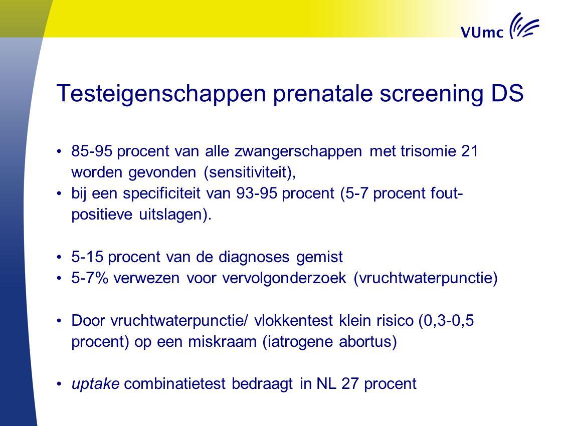 Testeigenschappen prenatale screening DS 85-95 procent van alle zwangerschappen met trisomie 21 worden gevonden (sensitiviteit), bij een specificiteit van 93-95 procent (5-7 procent fout- positieve uitslagen).