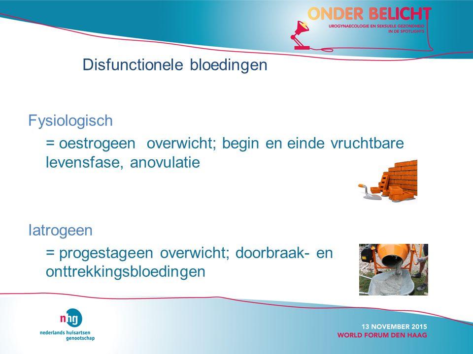 Fysiologisch = oestrogeen overwicht; begin en einde vruchtbare levensfase, anovulatie Iatrogeen = progestageen overwicht; doorbraak- en onttrekkingsbloedingen Disfunctionele bloedingen