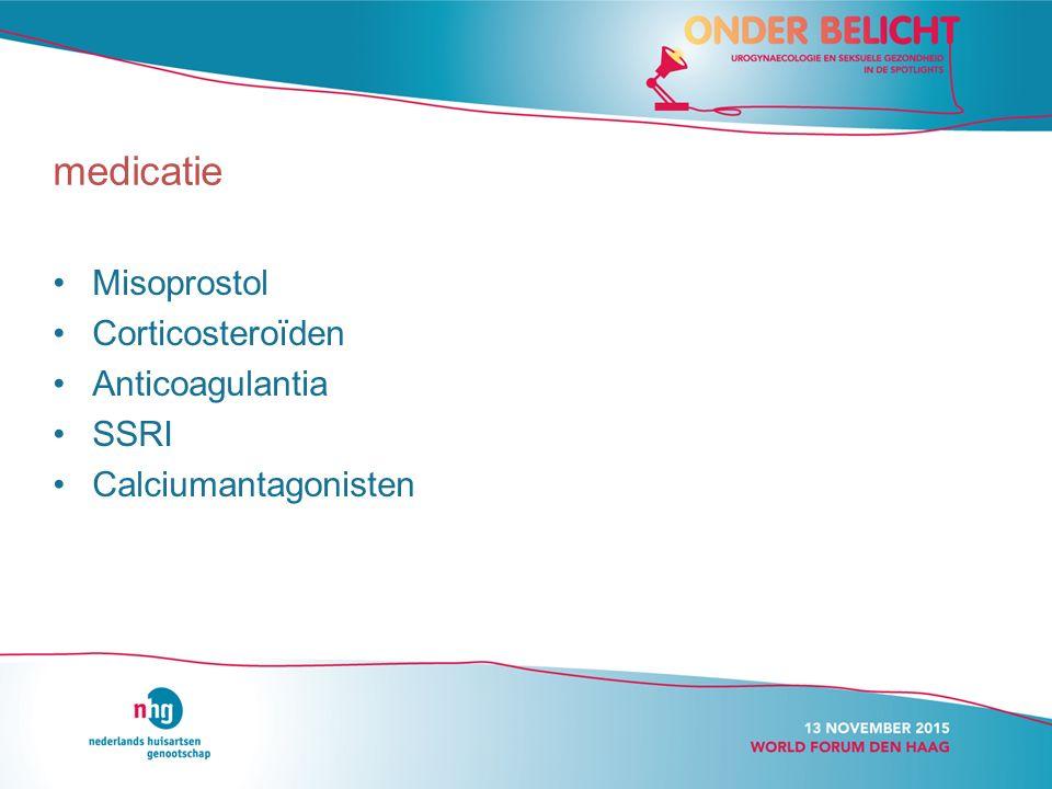 Misoprostol Corticosteroïden Anticoagulantia SSRI Calciumantagonisten medicatie