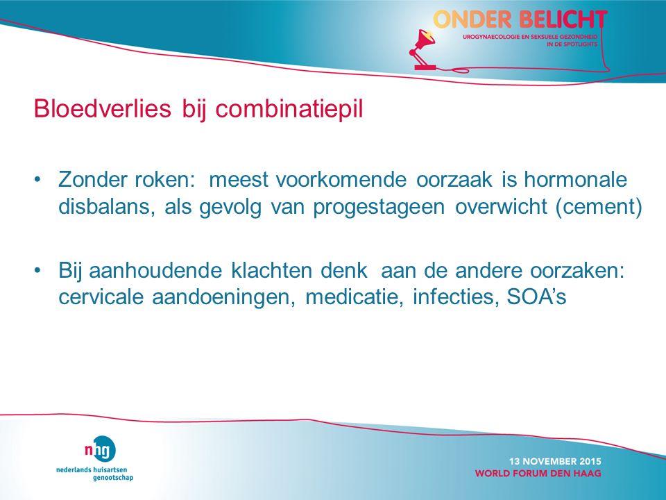 Zonder roken: meest voorkomende oorzaak is hormonale disbalans, als gevolg van progestageen overwicht (cement) Bij aanhoudende klachten denk aan de andere oorzaken: cervicale aandoeningen, medicatie, infecties, SOA's Bloedverlies bij combinatiepil