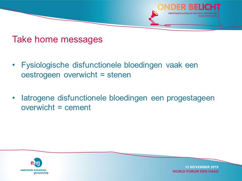 Fysiologische disfunctionele bloedingen vaak een oestrogeen overwicht = stenen Iatrogene disfunctionele bloedingen een progestageen overwicht = cement Take home messages