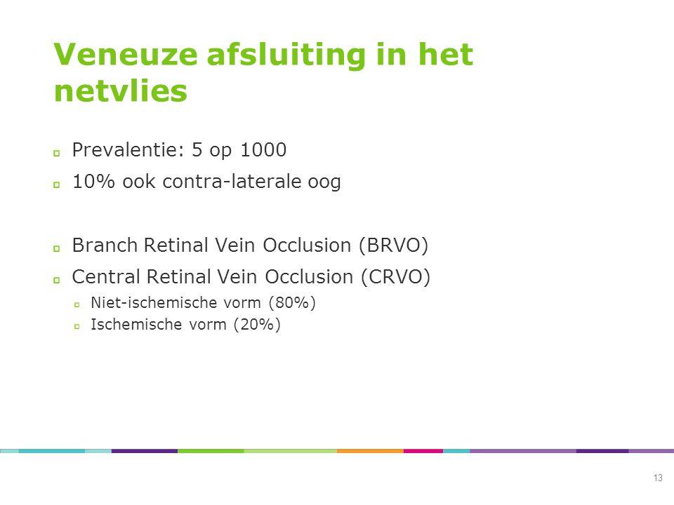 Veneuze afsluiting in het netvlies Prevalentie: 5 op 1000 10% ook contra-laterale oog Branch Retinal Vein Occlusion (BRVO) Central Retinal Vein Occlusion (CRVO) Niet-ischemische vorm (80%) Ischemische vorm (20%) 13