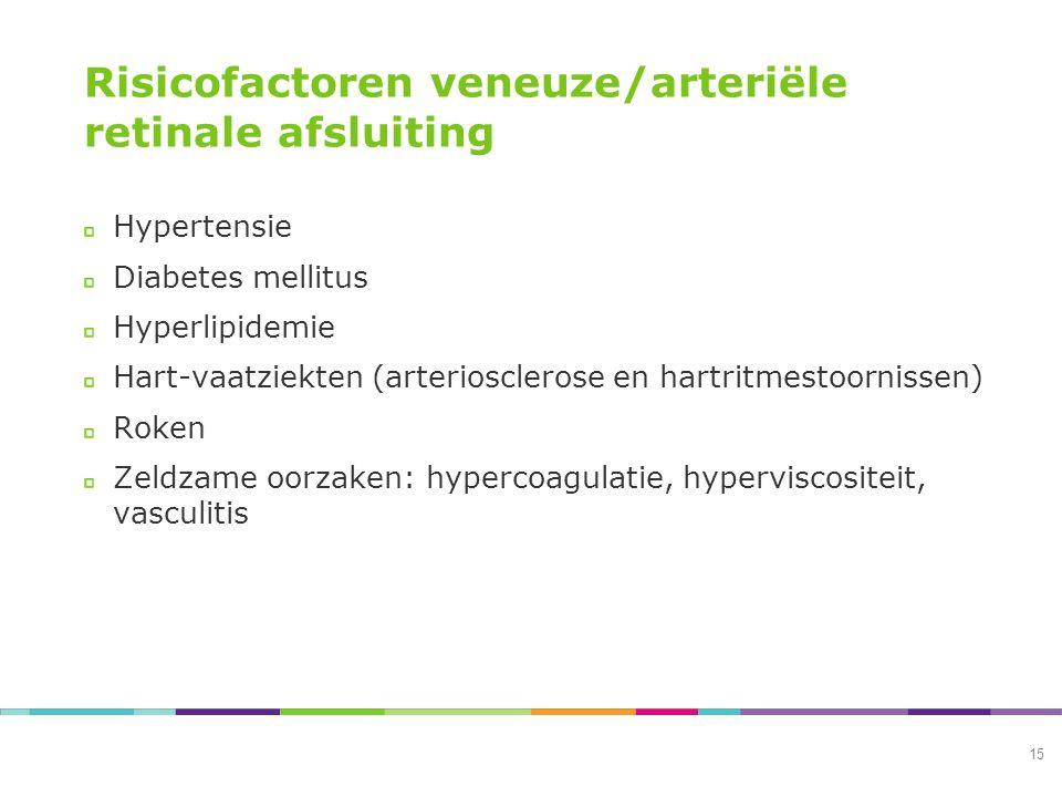 Risicofactoren veneuze/arteriële retinale afsluiting Hypertensie Diabetes mellitus Hyperlipidemie Hart-vaatziekten (arteriosclerose en hartritmestoornissen) Roken Zeldzame oorzaken: hypercoagulatie, hyperviscositeit, vasculitis 15