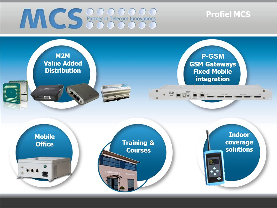 M2M Value Added Distribution P-GSM GSM Gateways Fixed Mobile integration Mobile Office Training & Courses Indoor coverage solutions Profiel MCS