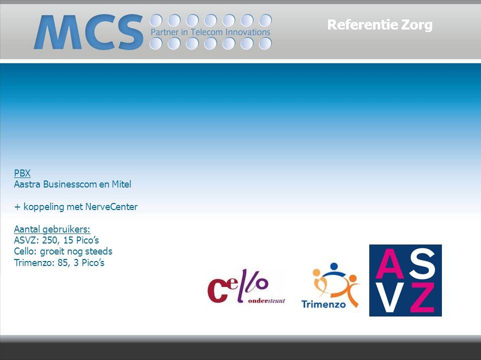 PBX Aastra Businesscom en Mitel + koppeling met NerveCenter Aantal gebruikers: ASVZ: 250, 15 Pico's Cello: groeit nog steeds Trimenzo: 85, 3 Pico's Referentie Zorg