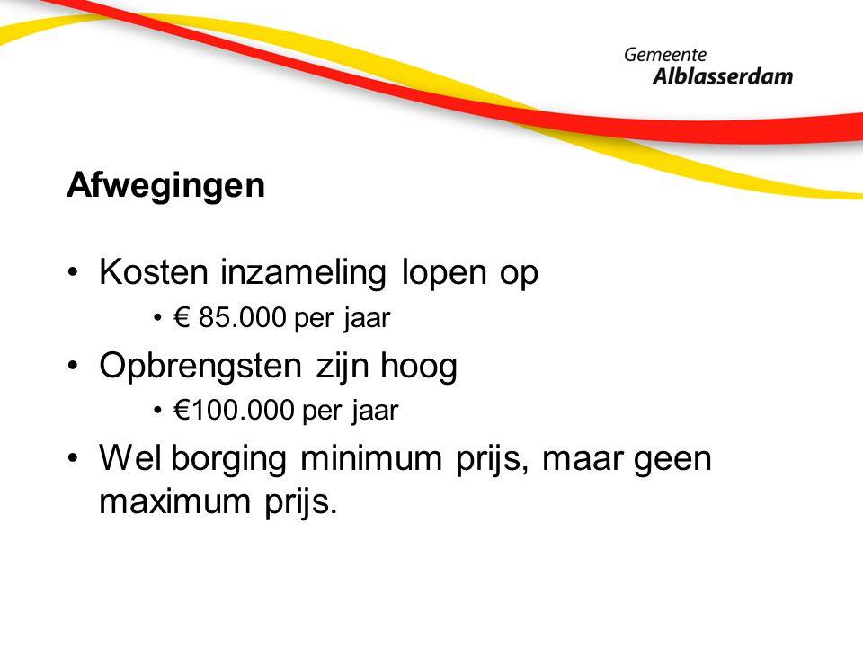 Afwegingen Kosten inzameling lopen op € 85.000 per jaar Opbrengsten zijn hoog €100.000 per jaar Wel borging minimum prijs, maar geen maximum prijs.