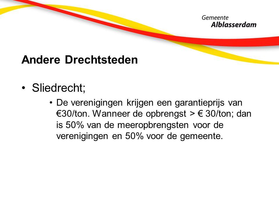 Andere Drechtsteden Sliedrecht; De verenigingen krijgen een garantieprijs van €30/ton. Wanneer de opbrengst > € 30/ton; dan is 50% van de meeropbrengs