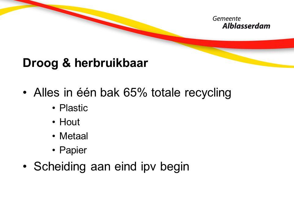 Droog & herbruikbaar Alles in één bak 65% totale recycling Plastic Hout Metaal Papier Scheiding aan eind ipv begin