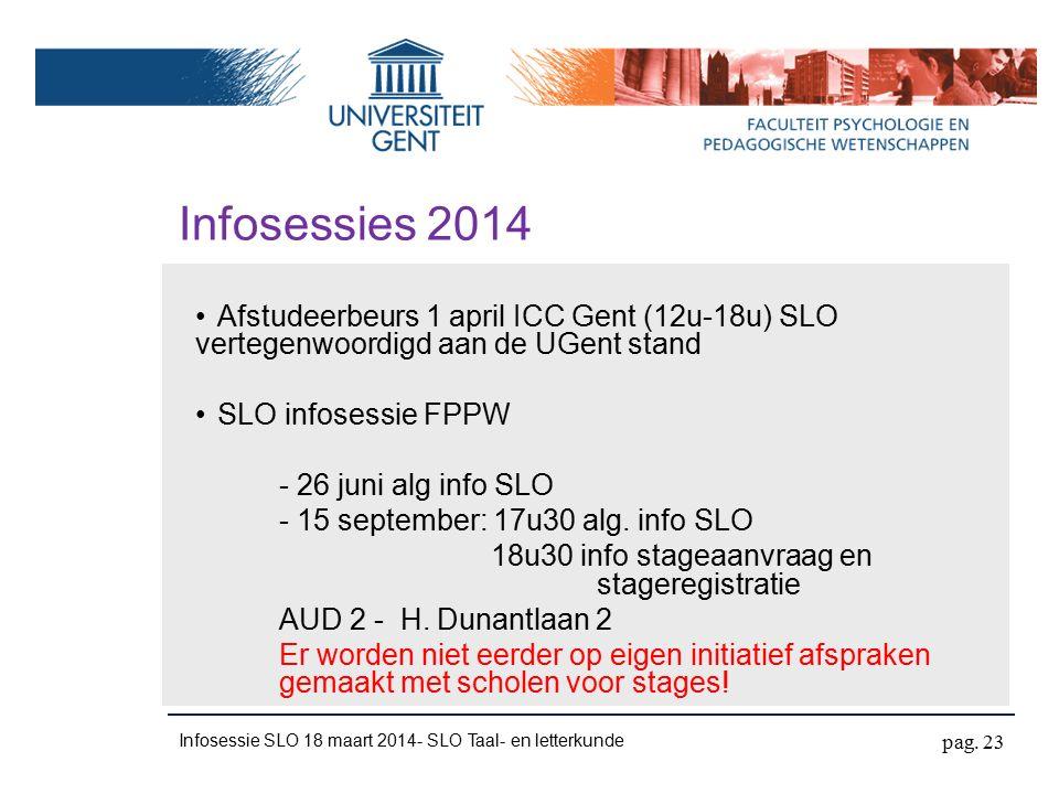 Infosessies 2014 Afstudeerbeurs 1 april ICC Gent (12u-18u) SLO vertegenwoordigd aan de UGent stand SLO infosessie FPPW - 26 juni alg info SLO - 15 september: 17u30 alg.
