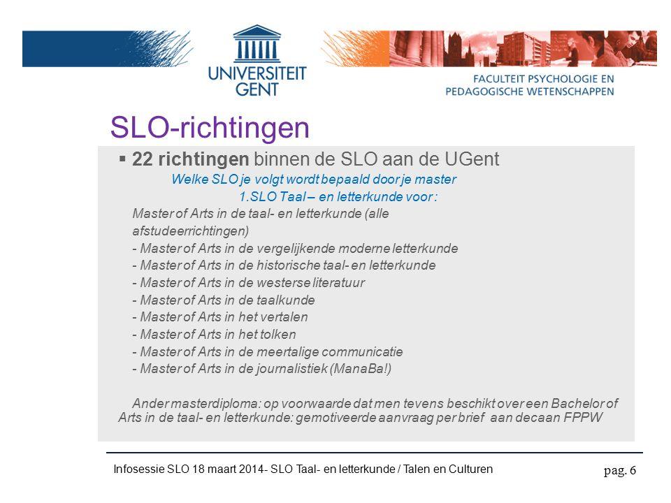 Infosessie SLO 18 maart 2014- SLO Taal- en letterkunde / Talen en Culturen Modeltraject SLO (alg.