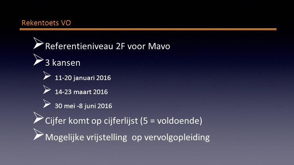 Rekentoets VO  Referentieniveau 2F voor Mavo  3 kansen  11-20 januari 2016  14-23 maart 2016  30 mei -8 juni 2016  Cijfer komt op cijferlijst (5 = voldoende)  Mogelijke vrijstelling op vervolgopleiding