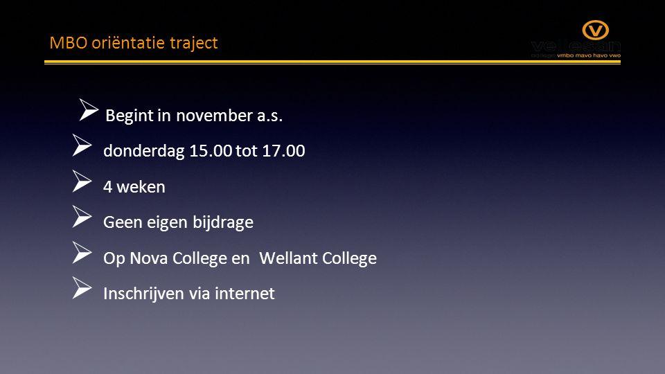 MBO oriëntatie traject  Begint in november a.s.  donderdag 15.00 tot 17.00  4 weken  Geen eigen bijdrage  Op Nova College en Wellant College  In