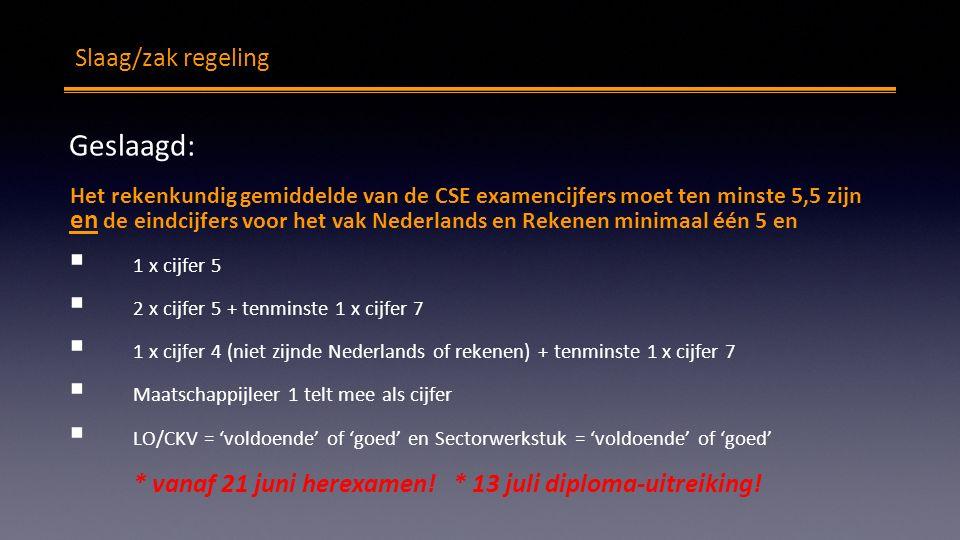 Slaag/zak regeling Geslaagd: Het rekenkundig gemiddelde van de CSE examencijfers moet ten minste 5,5 zijn en de eindcijfers voor het vak Nederlands en Rekenen minimaal één 5 en  1 x cijfer 5  2 x cijfer 5 + tenminste 1 x cijfer 7  1 x cijfer 4 (niet zijnde Nederlands of rekenen) + tenminste 1 x cijfer 7  Maatschappijleer 1 telt mee als cijfer  LO/CKV = 'voldoende' of 'goed' en Sectorwerkstuk = 'voldoende' of 'goed' * vanaf 21 juni herexamen.