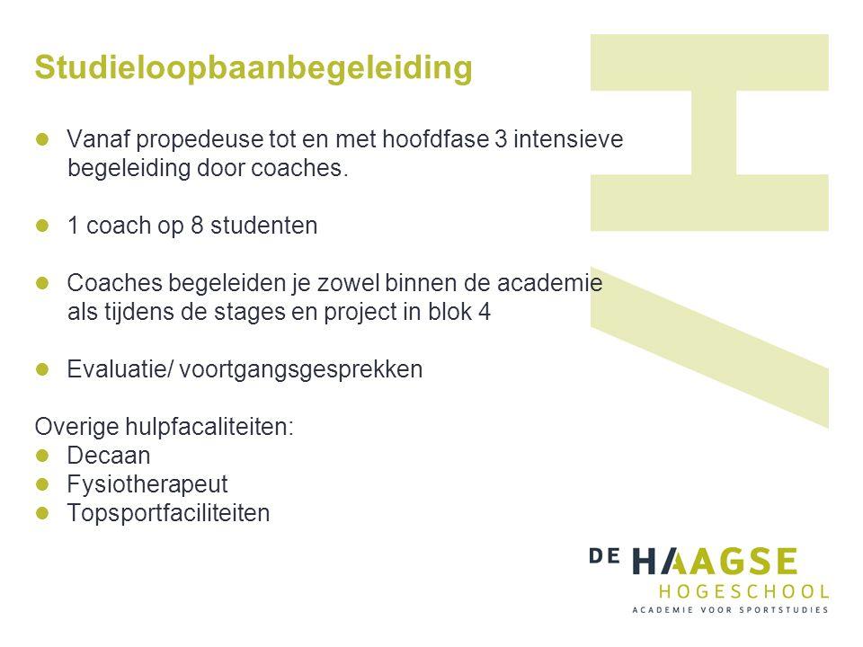 Studieloopbaanbegeleiding Vanaf propedeuse tot en met hoofdfase 3 intensieve begeleiding door coaches.