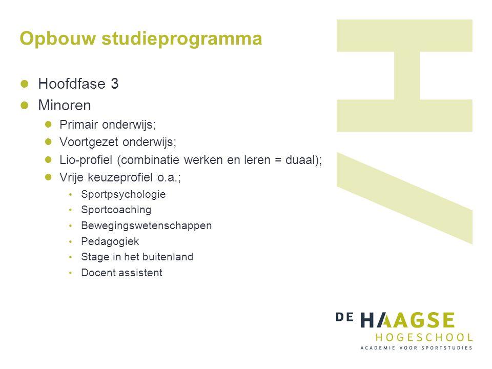 Opbouw studieprogramma Hoofdfase 3 Minoren Primair onderwijs; Voortgezet onderwijs; Lio-profiel (combinatie werken en leren = duaal); Vrije keuzeprofi