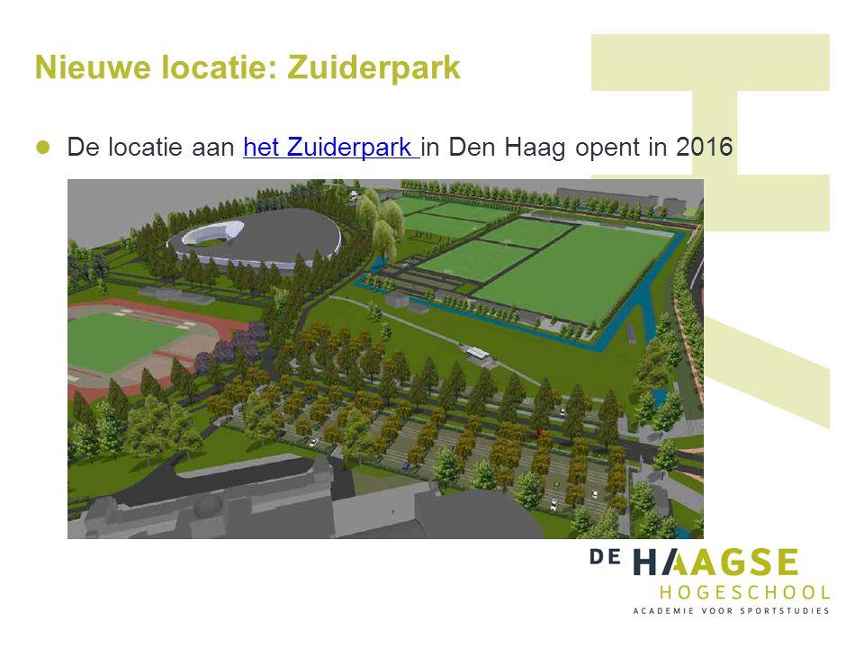 Nieuwe locatie: Zuiderpark De locatie aan het Zuiderpark in Den Haag opent in 2016het Zuiderpark