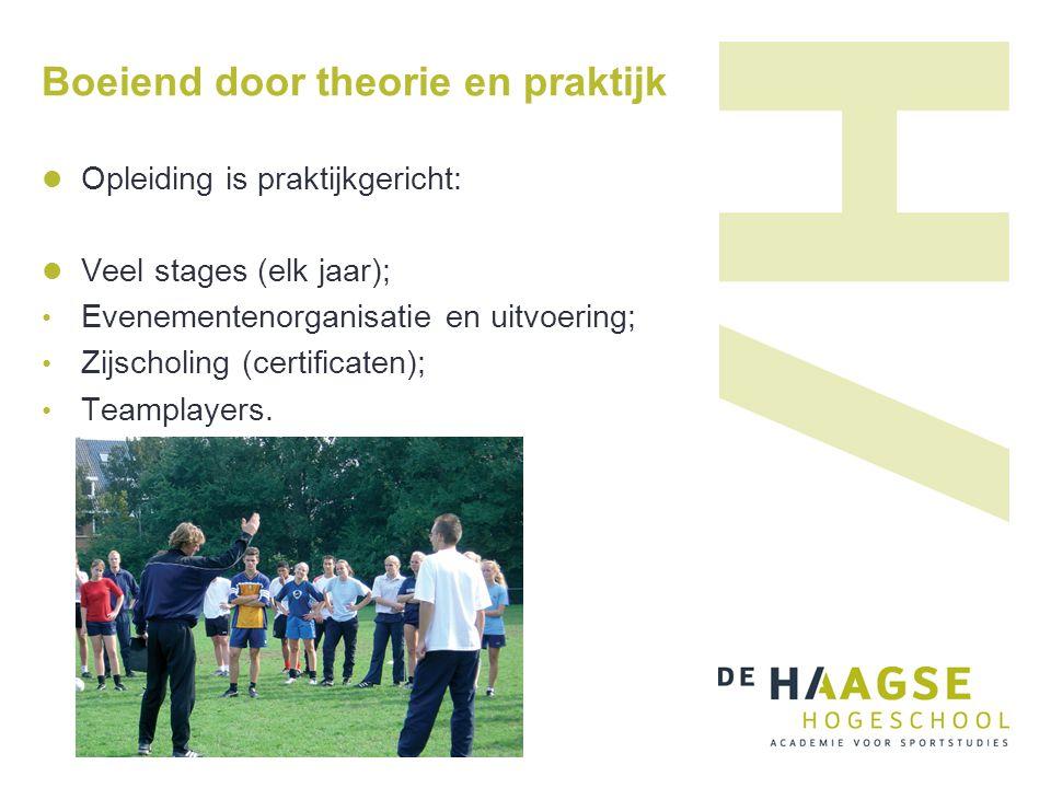 Boeiend door theorie en praktijk Opleiding is praktijkgericht: Veel stages (elk jaar); Evenementenorganisatie en uitvoering; Zijscholing (certificaten); Teamplayers.
