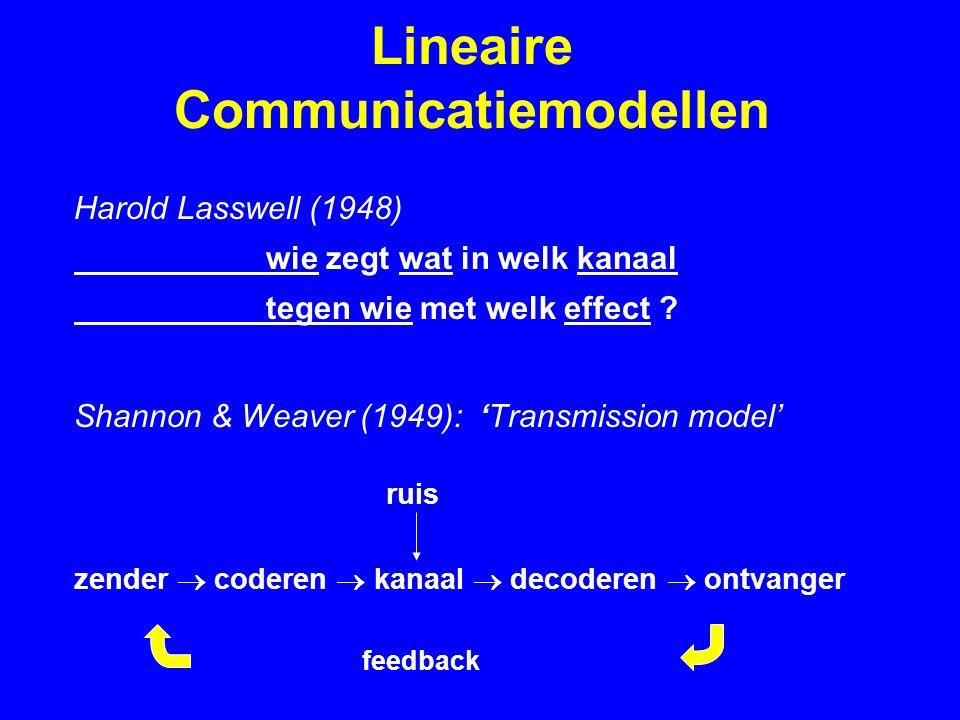 Lineaire Communicatiemodellen Harold Lasswell (1948) wie zegt wat in welk kanaal tegen wie met welk effect ? Shannon & Weaver (1949): 'Transmission mo