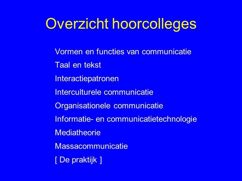 Overzicht Hoorcollege 1 Tekenleer (semiotiek) Communicatiemodellen Communicatie als samenwerking