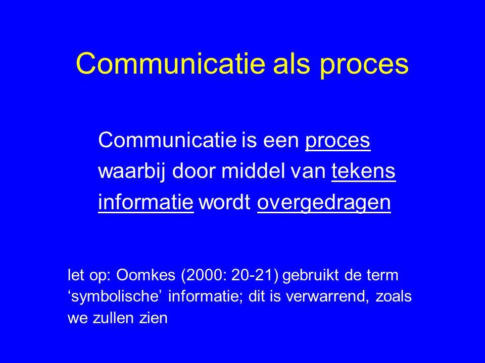 Communicatie als proces Communicatie is een proces waarbij door middel van tekens informatie wordt overgedragen let op: Oomkes (2000: 20-21) gebruikt