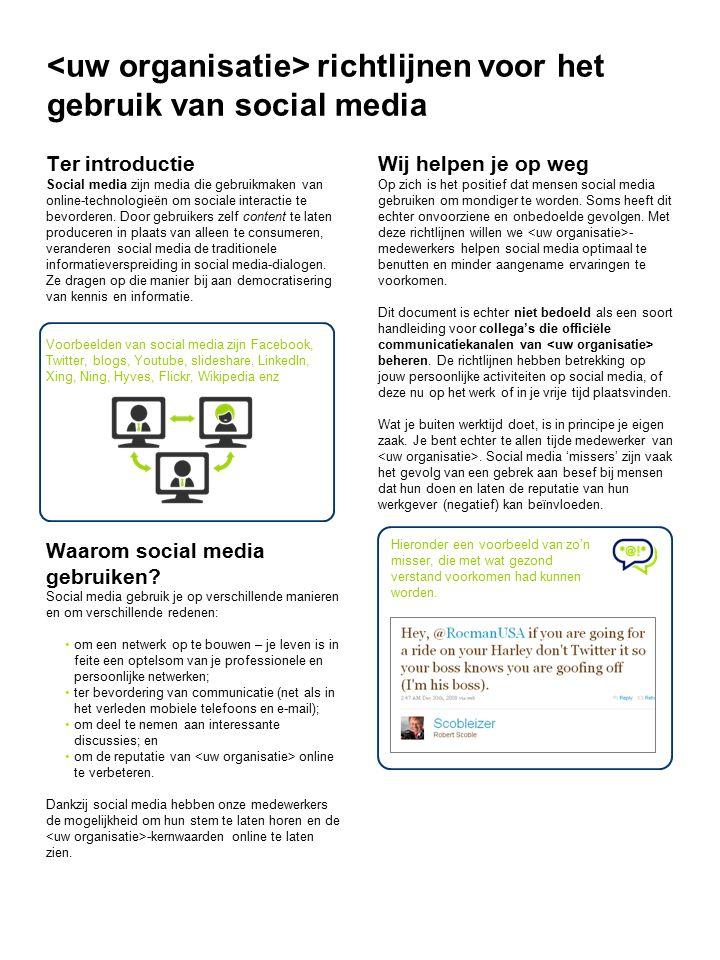 richtlijnen voor het gebruik van social media Ter introductie Social media zijn media die gebruikmaken van online-technologieën om sociale interactie te bevorderen.