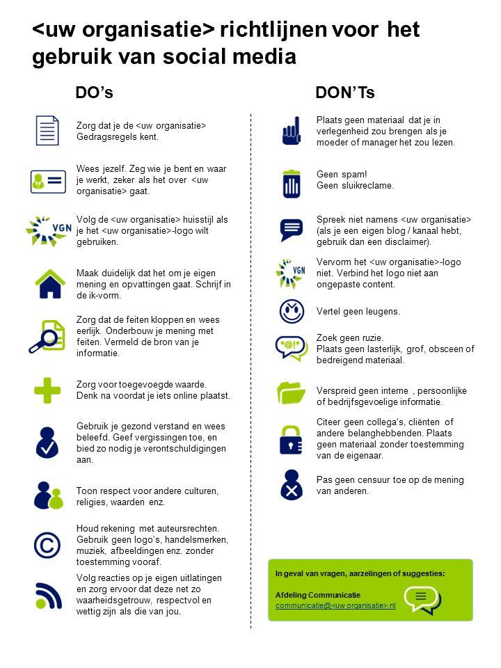 richtlijnen voor het gebruik van social media DO'sDON'Ts In geval van vragen, aarzelingen of suggesties: Afdeling Communicatie communicatie@.nl Zorg dat je de Gedragsregels kent.