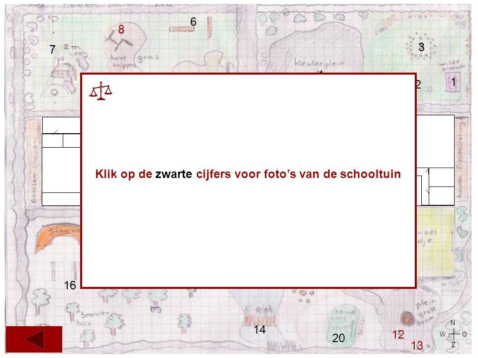 7 8 5 10 4 6 2 3 1 11 19 14 18 12 13 20 17 16 9 15 N O Z W 21 14 21 Klik op de zwarte cijfers voor foto's van de schooltuin