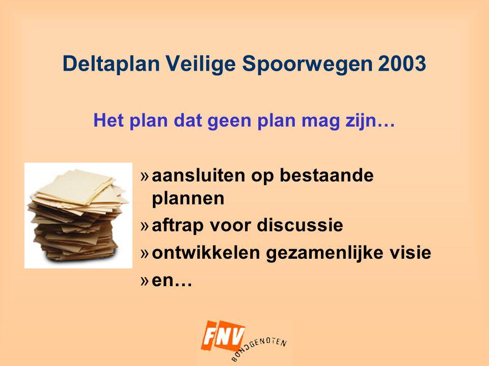 Deltaplan Veilige Spoorwegen 2003 Het plan dat geen plan mag zijn… »aansluiten op bestaande plannen »aftrap voor discussie »ontwikkelen gezamenlijke visie »en…