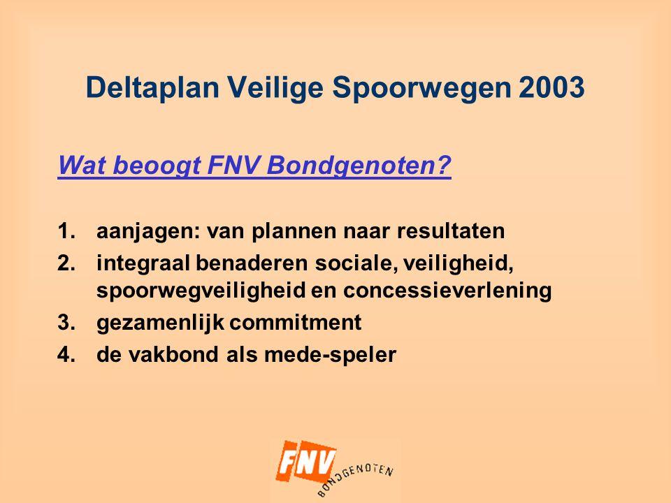 Deltaplan Veilige Spoorwegen 2003 Wat beoogt FNV Bondgenoten.