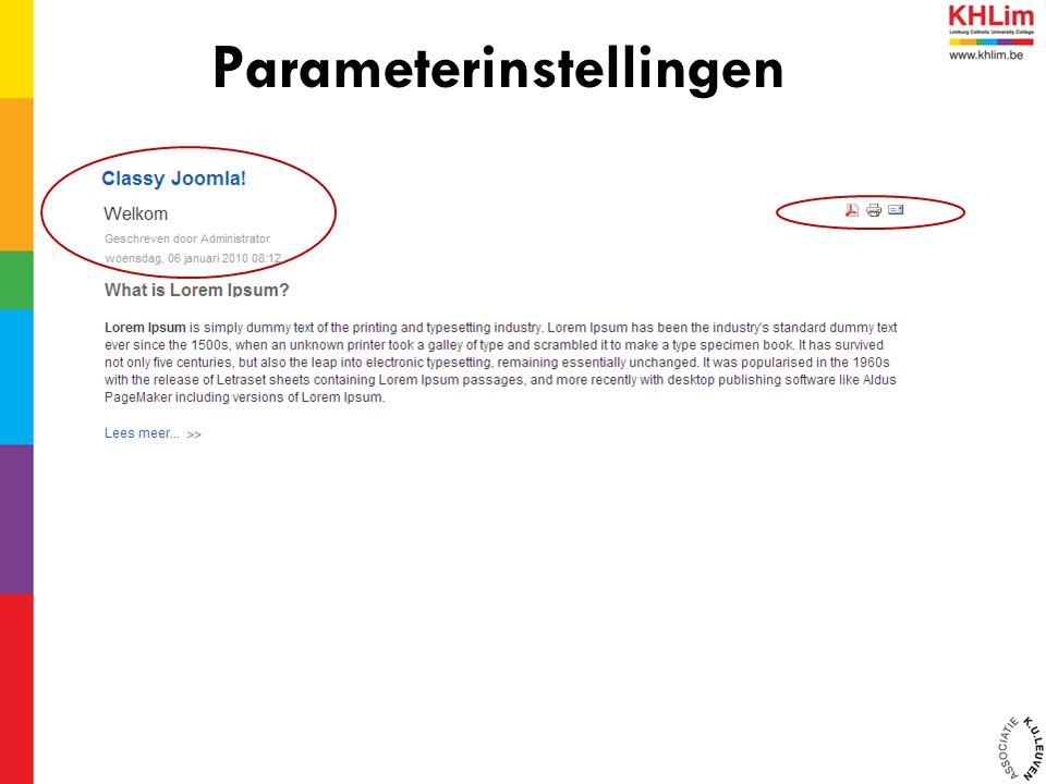Parameterinstellingen
