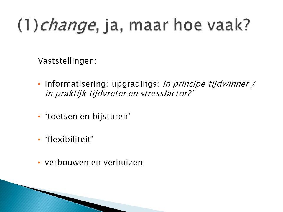 Vaststellingen: ▪ informatisering: upgradings: in principe tijdwinner / in praktijk tijdvreter en stressfactor?' ▪ 'toetsen en bijsturen' ▪ 'flexibili