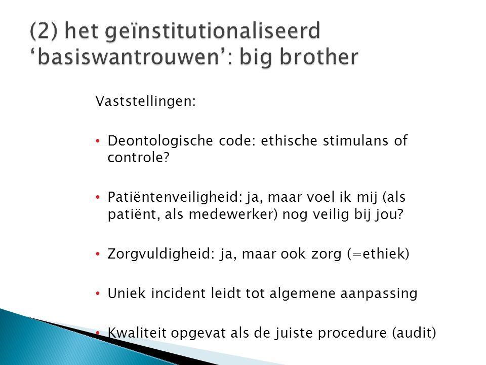 Vaststellingen: Deontologische code: ethische stimulans of controle? Patiëntenveiligheid: ja, maar voel ik mij (als patiënt, als medewerker) nog veili