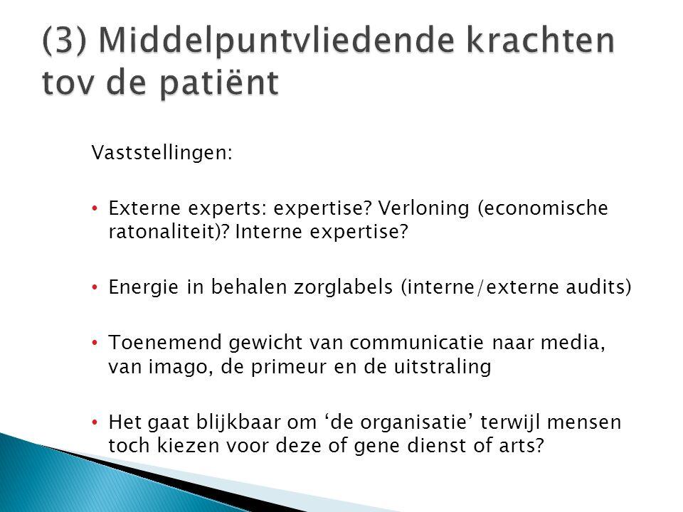 Vaststellingen: Externe experts: expertise? Verloning (economische ratonaliteit)? Interne expertise? Energie in behalen zorglabels (interne/externe au