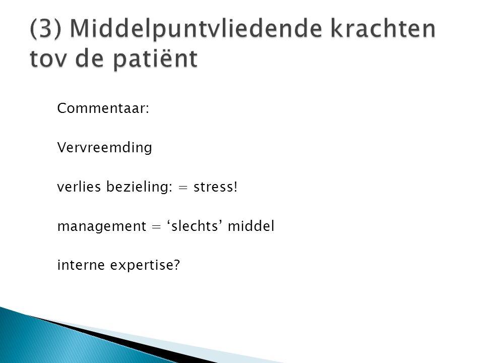 Commentaar: Vervreemding verlies bezieling: = stress! management = 'slechts' middel interne expertise?