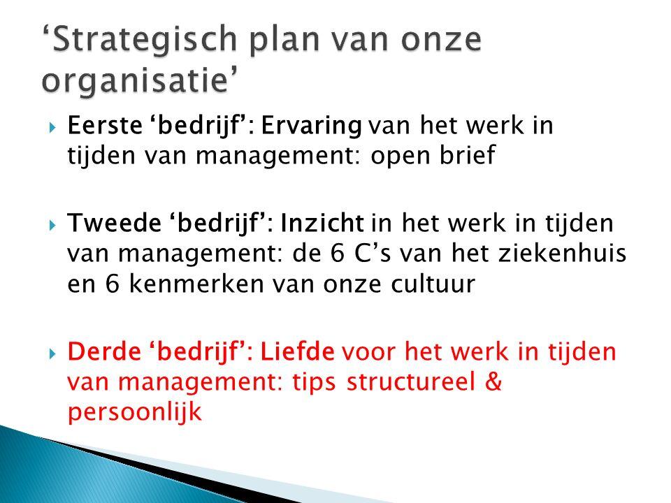  Eerste 'bedrijf': Ervaring van het werk in tijden van management: open brief  Tweede 'bedrijf': Inzicht in het werk in tijden van management: de 6 C's van het ziekenhuis en 6 kenmerken van onze cultuur  Derde 'bedrijf': Liefde voor het werk in tijden van management: tips structureel & persoonlijk
