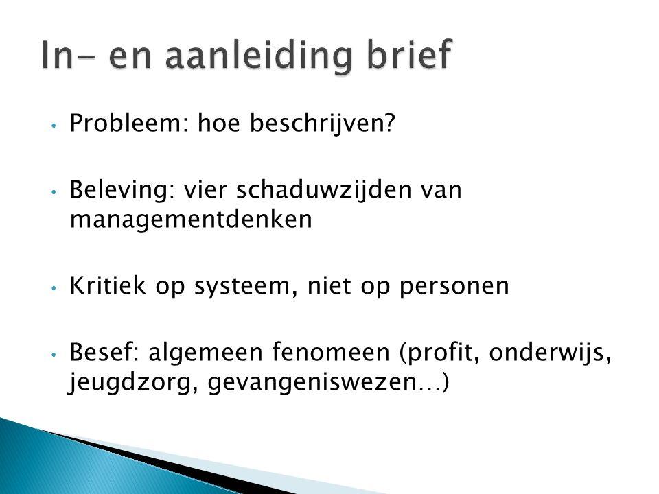 Probleem: hoe beschrijven? Beleving: vier schaduwzijden van managementdenken Kritiek op systeem, niet op personen Besef: algemeen fenomeen (profit, on