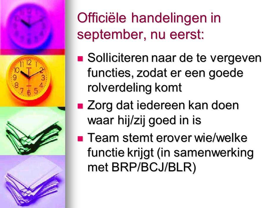 Officiële handelingen in september, nu eerst: Solliciteren naar de te vergeven functies, zodat er een goede rolverdeling komt Solliciteren naar de te vergeven functies, zodat er een goede rolverdeling komt Zorg dat iedereen kan doen waar hij/zij goed in is Zorg dat iedereen kan doen waar hij/zij goed in is Team stemt erover wie/welke functie krijgt (in samenwerking met BRP/BCJ/BLR) Team stemt erover wie/welke functie krijgt (in samenwerking met BRP/BCJ/BLR)